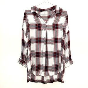 Umgee Top Tunic Pullover Flannel Plaid